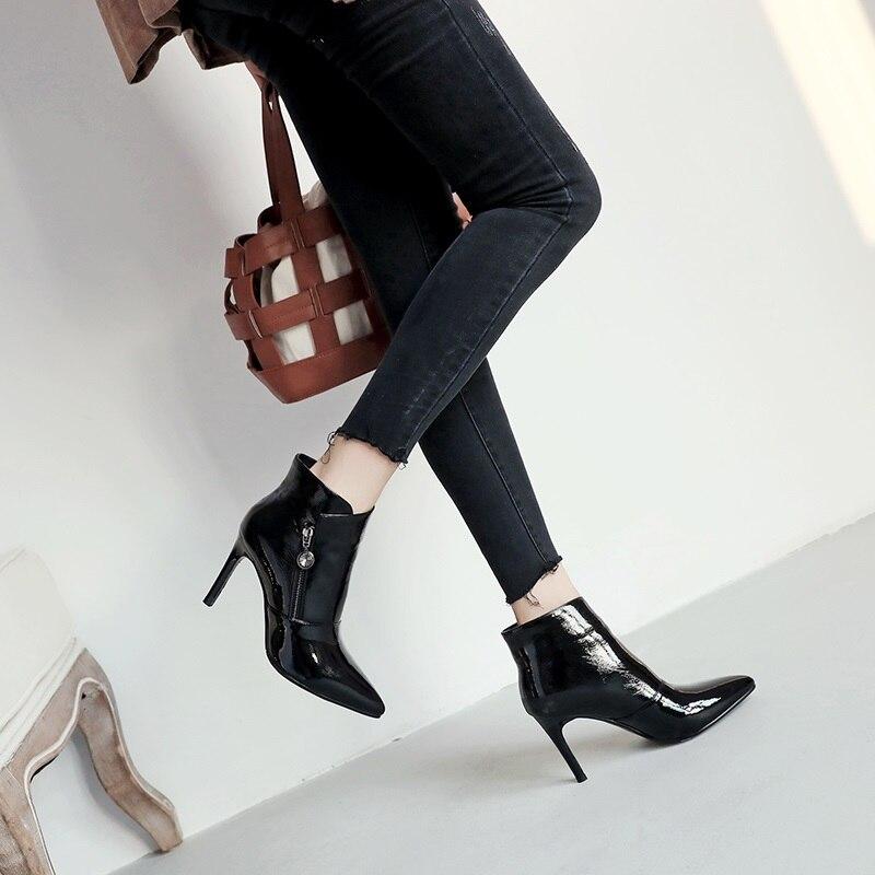 Cuir Haute En Parti Pour Mince Talons Zipper Taille Femmes Super Nouvelle Pointu 2018 Bottines Verni Chaussures Sexy Mode black Bout 40 Beige Égérie 33 red bg76fy