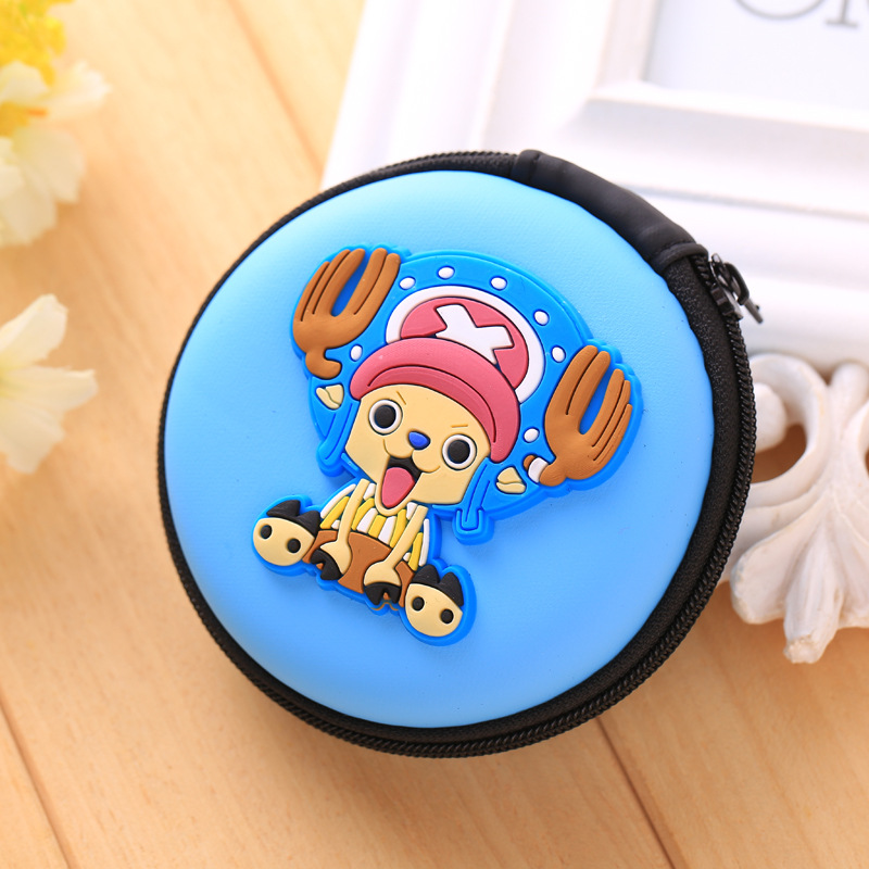 One Piece Japanese Anime Earphone Holder Organizer Bags Cute Cartoon Kids Gifts EVA Silicone Coin Purse Dollar Price Mini Wallet long cable winder cute cartoon animal headphone earphone organizer wire holder action toy figures set