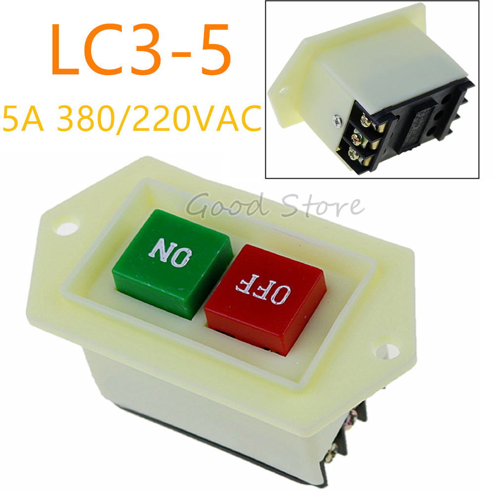 1PCS LC3-5 Start Stop Start Switch On/off 10A 380/220V For Bench Drill Grinding Machine Cutting Machine Button Drill Switch