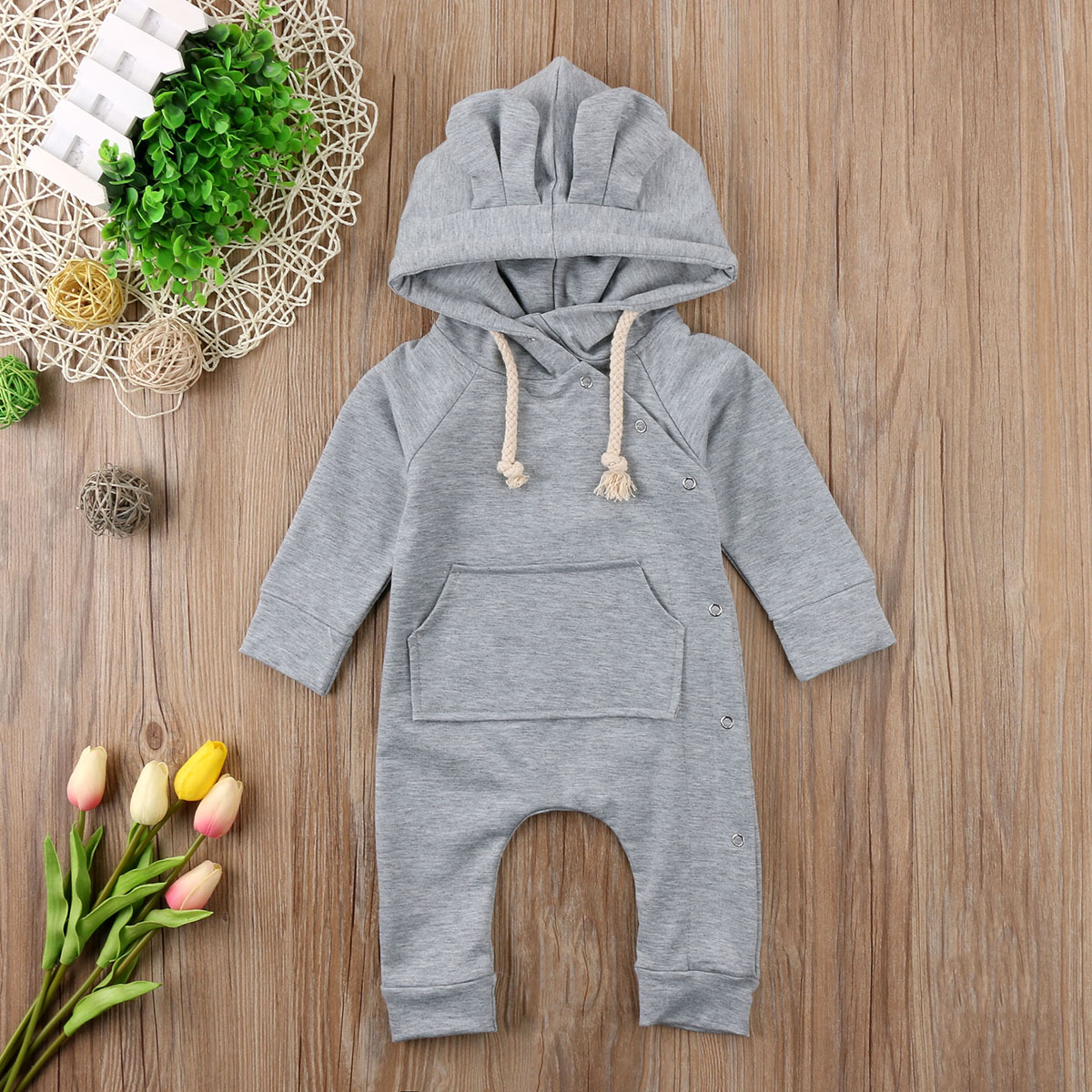Solid Color Gray Kids Baby Boy Girl Hoodie Infant   Romper   Jumpsuit Long Sleeve Hooded Clothes Sweater Outfit