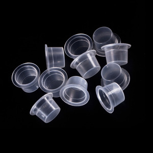 Image 3 - 100Pc S/M/L Plastic Wegwerp Microblading Tattoo Inkt Cups Permanente Make Up Pigment Clear Houder Container Cap tattoo Accessoire