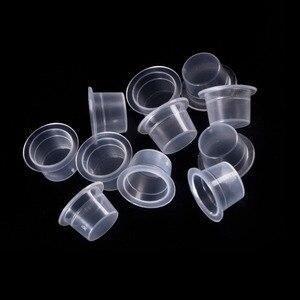 Image 3 - 100pc S/M/L פלסטיק חד פעמי Microblading קעקוע כוסות דיו איפור קבוע פיגמנט ברור מחזיק מיכל כובע קעקוע אבזר