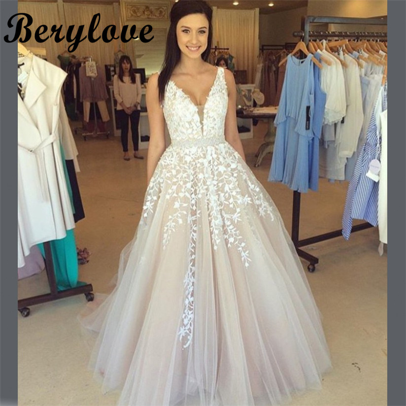 Champagne Lace Wedding Gown: BeryLove Long Champagne Wedding Dress 2019 Beaded Lace