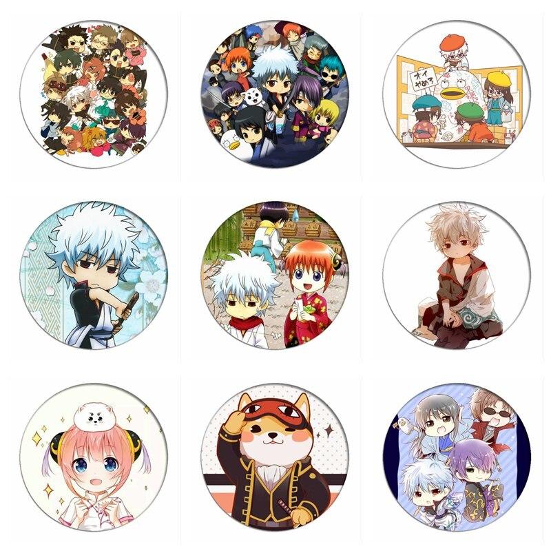 Anime GINTAMA Cosplay Badges Sakata Gintoki Brooch Pins Kagura Sadaharu Q Version Icon Collection Breastpin For Bag Clothes