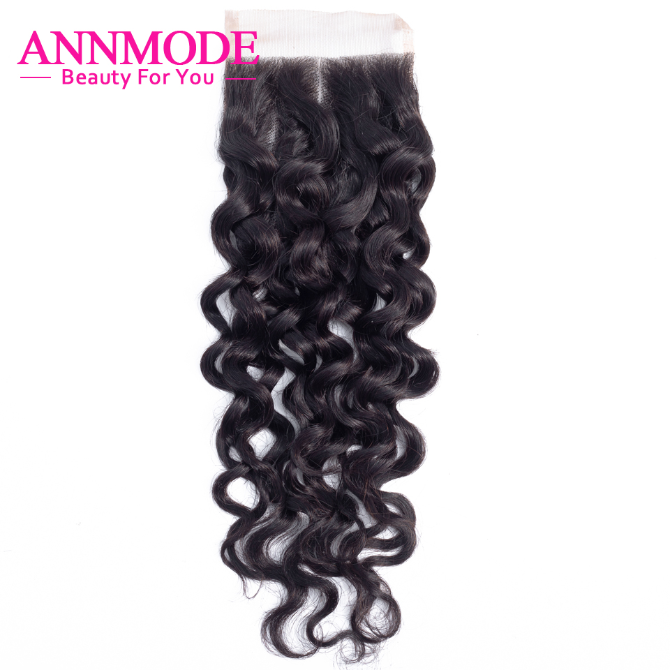 Annmode Hair Brazilian Water Wave Closure Free/Middle Part  4*4 Non Remy Human Hair Closure Swiss Lace Closure With Baby Hair
