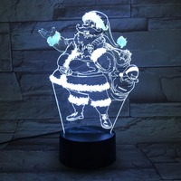 Christmas gift Santa Claus 3D led USB night Light Energy saving table Lamp Usb Led Light Lamp Kids Lamp Dormitorio Room Lamp