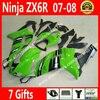 Hot Sale Fairings For 2007 2008 Kawasaki Ninja 636 ZX6R 07 08 Light Green Black Bodywork