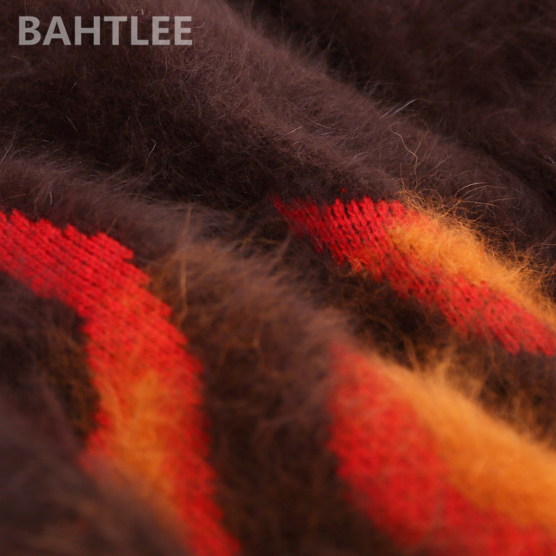 Angora Tricoté Taille Muliticolor Femmes Chaud Épais Garder Processus Pull Col Bahtlee Hiver Loosefir Au Pulls V De Jacquard Plus qYXqIUx