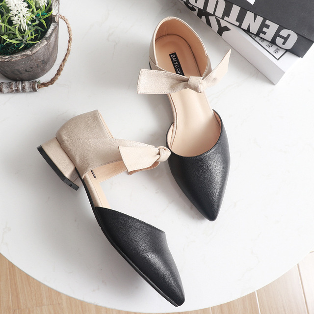 ankle leather bow-knot shoes woman low heel cut out pumps 3