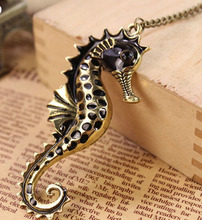 Retro Fancy Enamel Sea Horse Necklace Wholesale Animal Pendant Necklaces Long Chain Jewelry For Women