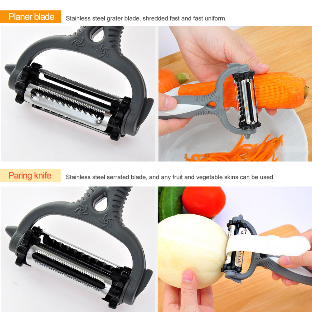 3 in1 Multifunctional 360 Degree Rotary Potato Peeler Vegetable Cutter Fruit Melon Planer Grater Kitchen Gadget 3 Blades Peeler
