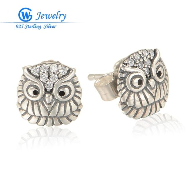 Owl Stud Earrings For Women 925 Sterling-Silver-Jewelry Crystal Animal Earrings GW Fine Jewelry ER1016H20