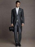 Винтажный Свадебный костюм мужской официальный фрак черный мужской свадебный костюм итальянский Жених мужской блейзер с острым отворотом