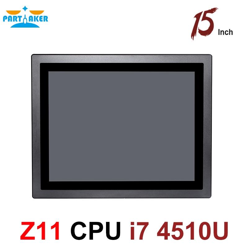 Все в одном ПК 15 дюймов сенсорный экран промышленный планшетный ПК IP65 Intel core i7 4510U 4600U пылезащитный и водонепроницаемый для киоска