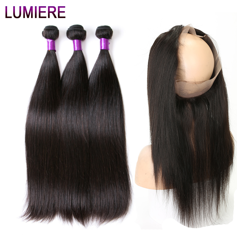 Lumiere Hair Brazilian Hair Weave Bundles Straight 360 Frontal With Bundles Remy Hair Bundles With Closure Human Hair Extension