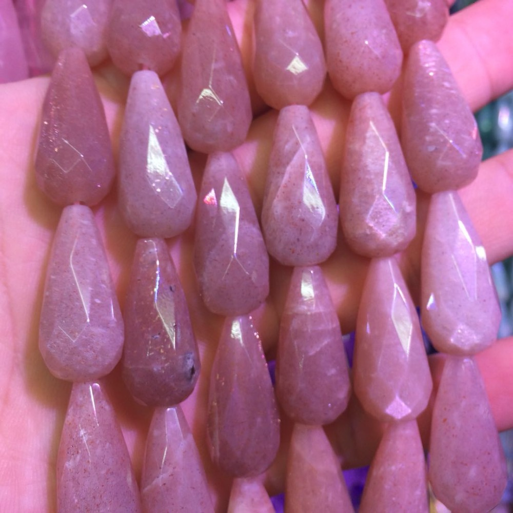 drop shape natural sunstone beads natural gem stone beads DIY loose beads for jewelry making strand 15
