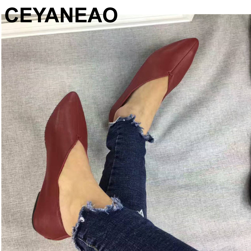 CEYANEAO New Handmade 100% Genuine Leather Women Shoes Simple style soft Cowhide Shoes Ladies Flat Shoes Free shipping original handmade autumn women genuine leather shoes cowhide loafers real skin shoes folk style ladies flat shoes for mom sapato