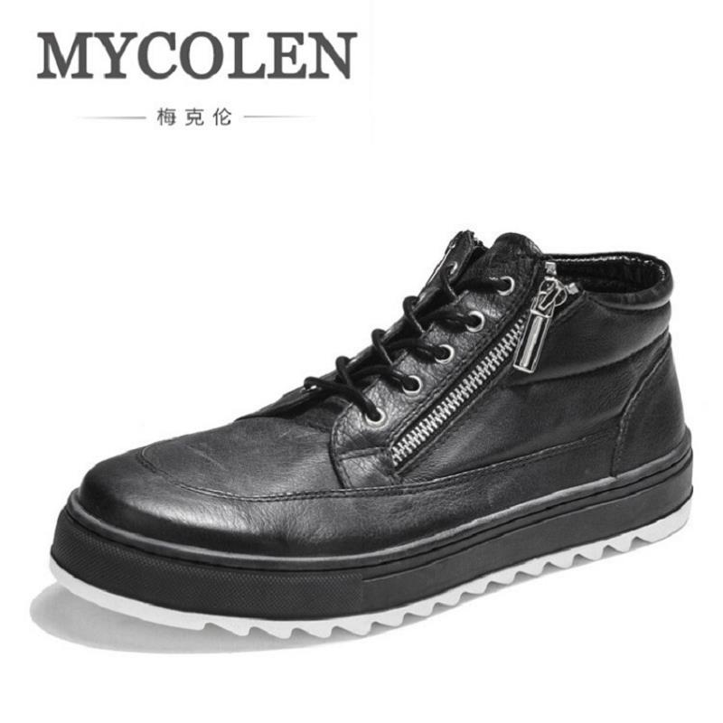 MYCOLEN Mens Casual Shoes Fashion Minimalist Leather Male Ankle Shoes Black Zipper Design Leisure Winter Punk Shoes for Man 2016 new autumn winter man casual shoes sport male leisure chaussure laced up basket shoes for adults black