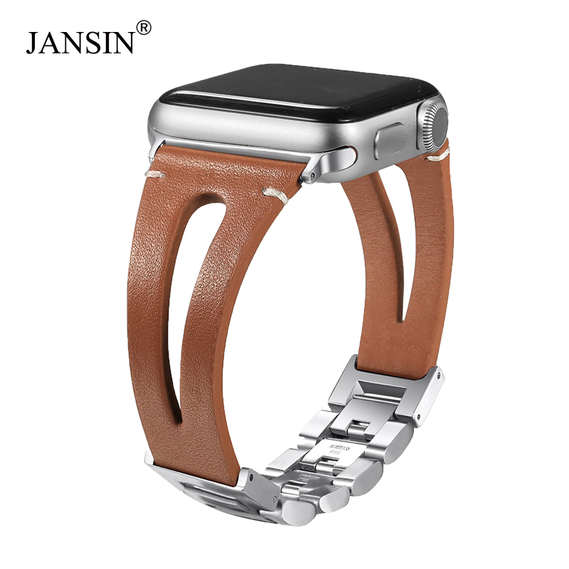 JANSIN Genuine Calf Leather watch band for Apple Watch Bands 38mm 42mm 40mm 44mm Bracelet for iWatch Series 4 3 2 1 women/Men цена