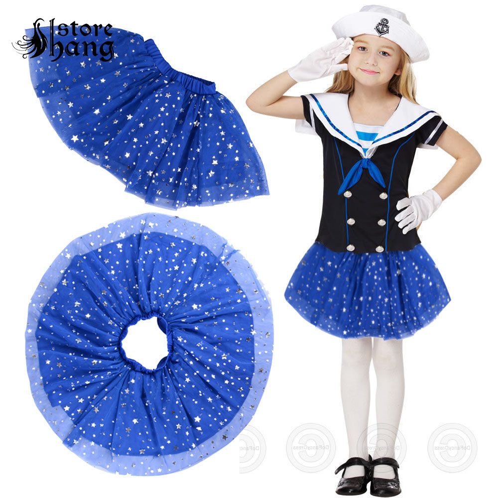 80s Kid Girls Navy Star Sequins Skirt Outfit Party Tutu Layered Tulle Ballet Wear Dance Dress Girls Cosplay  Shiny Kid's Costume