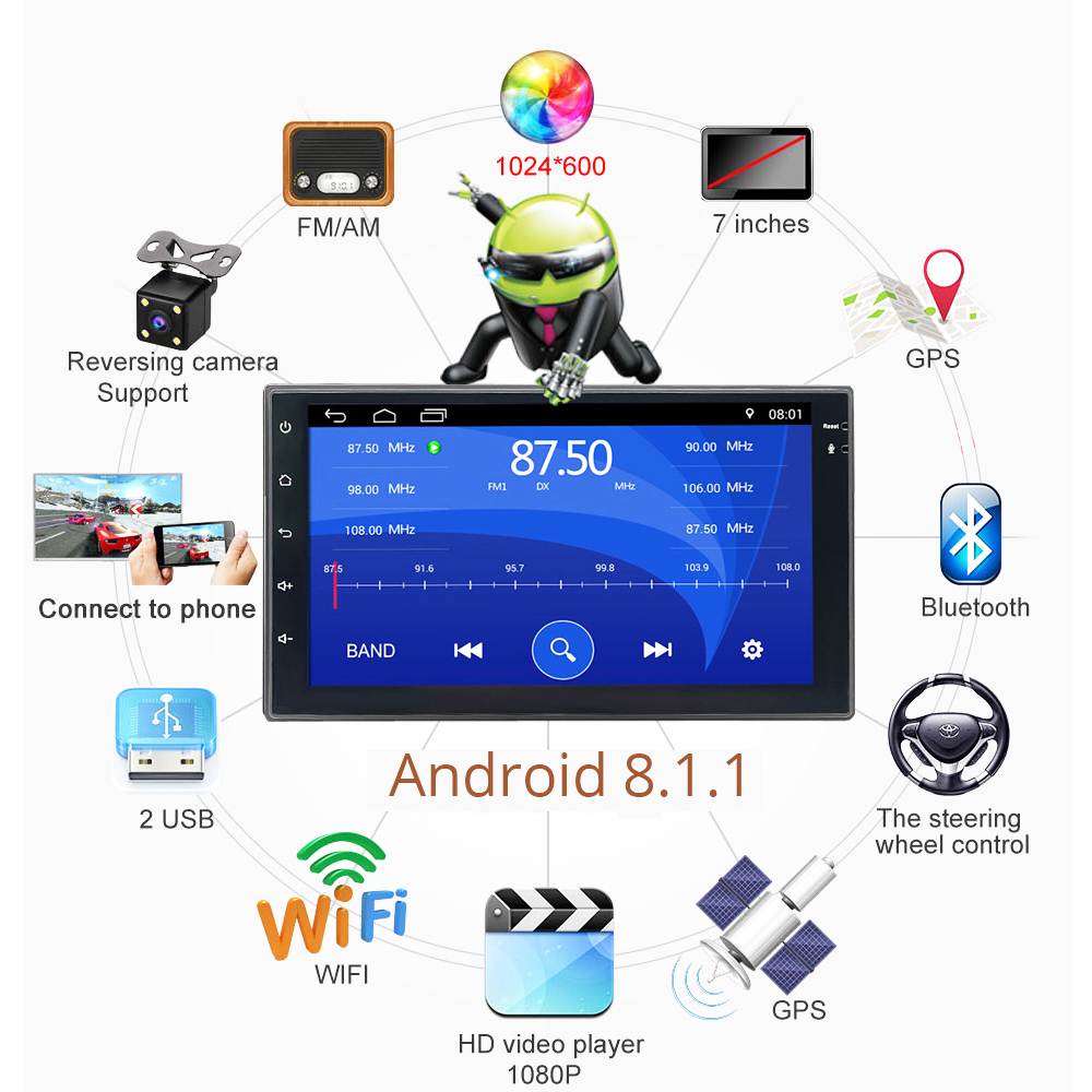 Android 8.1 universal Car Radio 7 2 din car radio gps android 2din Car multimedia Player GPS NAVIGATION WIFI Bluetooth MP5Android 8.1 universal Car Radio 7 2 din car radio gps android 2din Car multimedia Player GPS NAVIGATION WIFI Bluetooth MP5