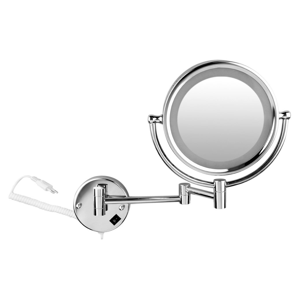 Wall Mount LED Illuminated Mirrors Cheval Vanity Mirror Cosmetic 7xZoom Magnification Makeup Jewelry 8 5in Mirror