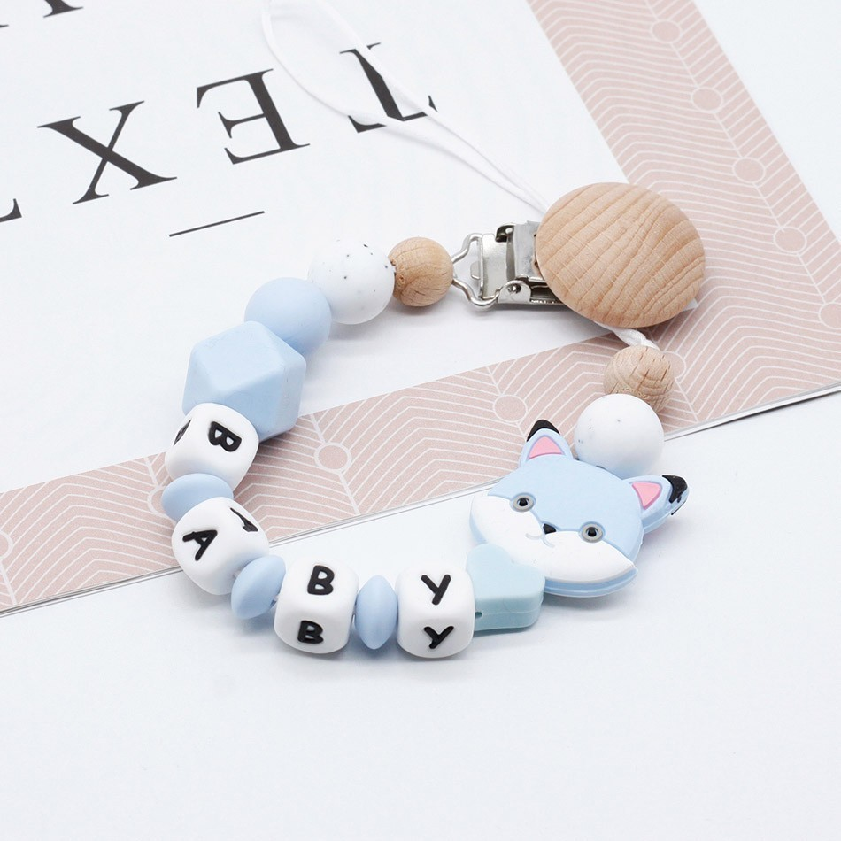 Custom Baby Personalize Name Pacifier Clip Silicone Beech Beads Binky Clip Pacifier Chain Chew Baby Teether Toys Nipple Holder
