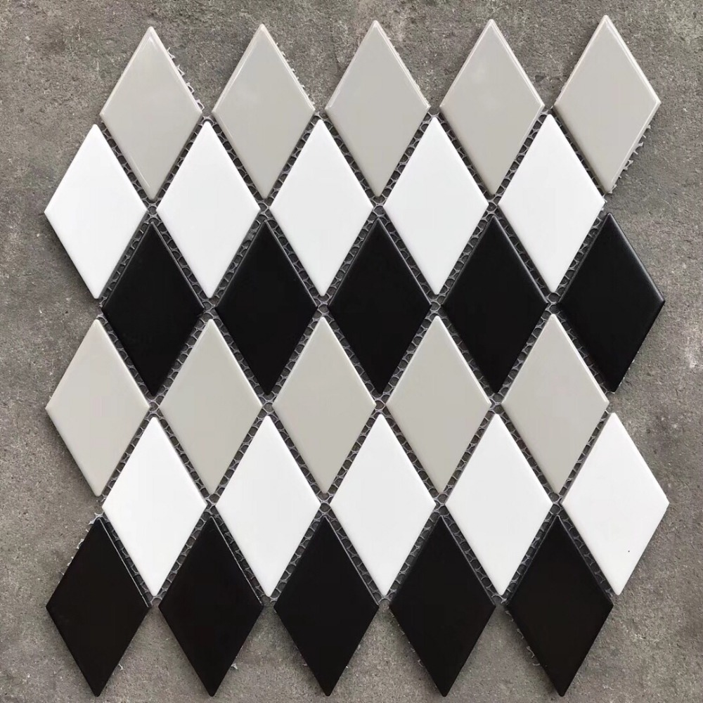 3d Nordic Porcelain Rhombus Black White Grey Ceramic Mosaic Tiles