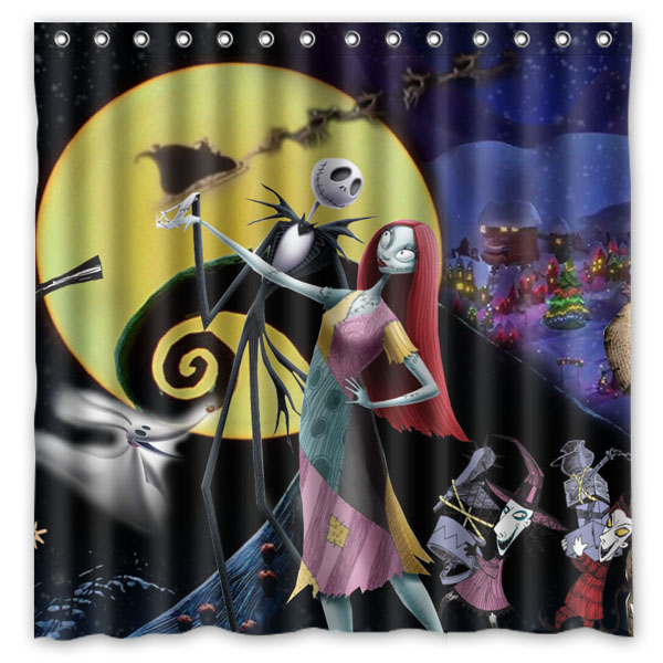 The Nightmare Before Christmas Shower Curtain Waterproof Fabric Bath Curtains Polyester Bathroom Shelter 180180cm