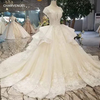 LSS416 luxury ball gown wedding dress with multi layer skirt o neck cap sleeves lace up back appliques wedding gown with train
