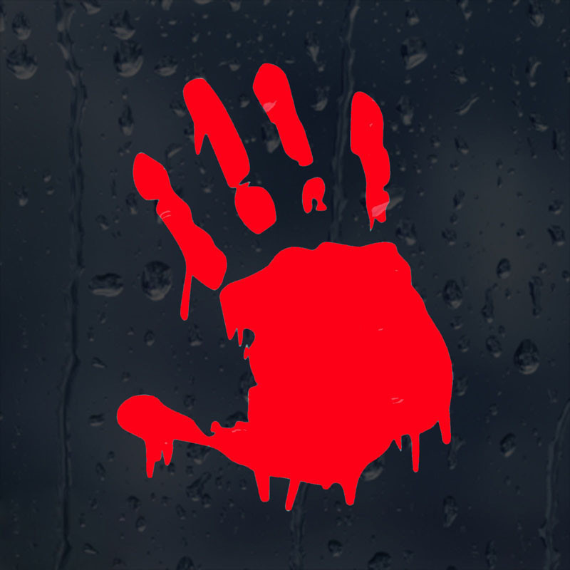 11.3CMX15CM Bloody Hand Print Zombie Vinyl Car Window Sticker Motorcycle Decal Accessories Black Silver Red C1-2138
