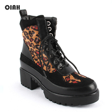 purple hairy lace up square toe women ankle high boots leopard print platform stivali femminili star casual wedges boots femmes OIAH 2019 Women Autumn Winter Shoes Square Heeled Platform Boots Fashion Ankle Boots Round Toe Lace Up Leopard Shoes for Ladies