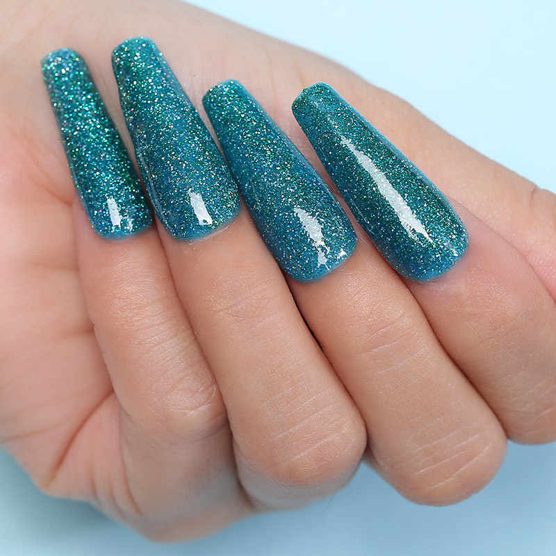 Azure Kecantikan 10 Pcs/lot Mencelupkan Bubuk Nail Art Holo Glitter Gradient Warna DIP Bubuk Kuku Kerlap-kerlip Bubuk Set Base Coat top Coat