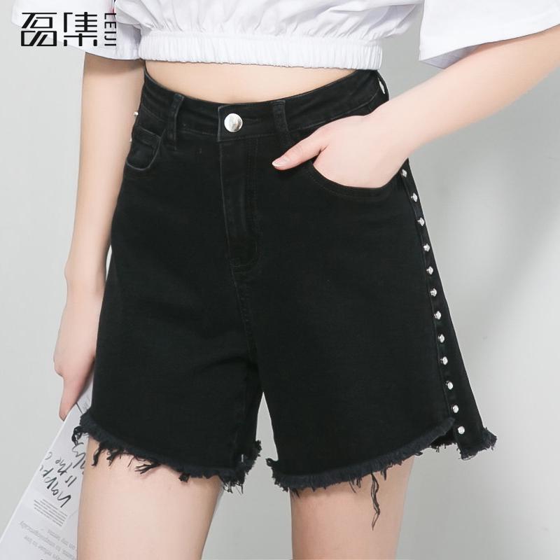 shorts   Jeans   For Women Tassel High Waist Plus Size Black Nail Drill Zipper Softener Loose Harem Pants 5xl