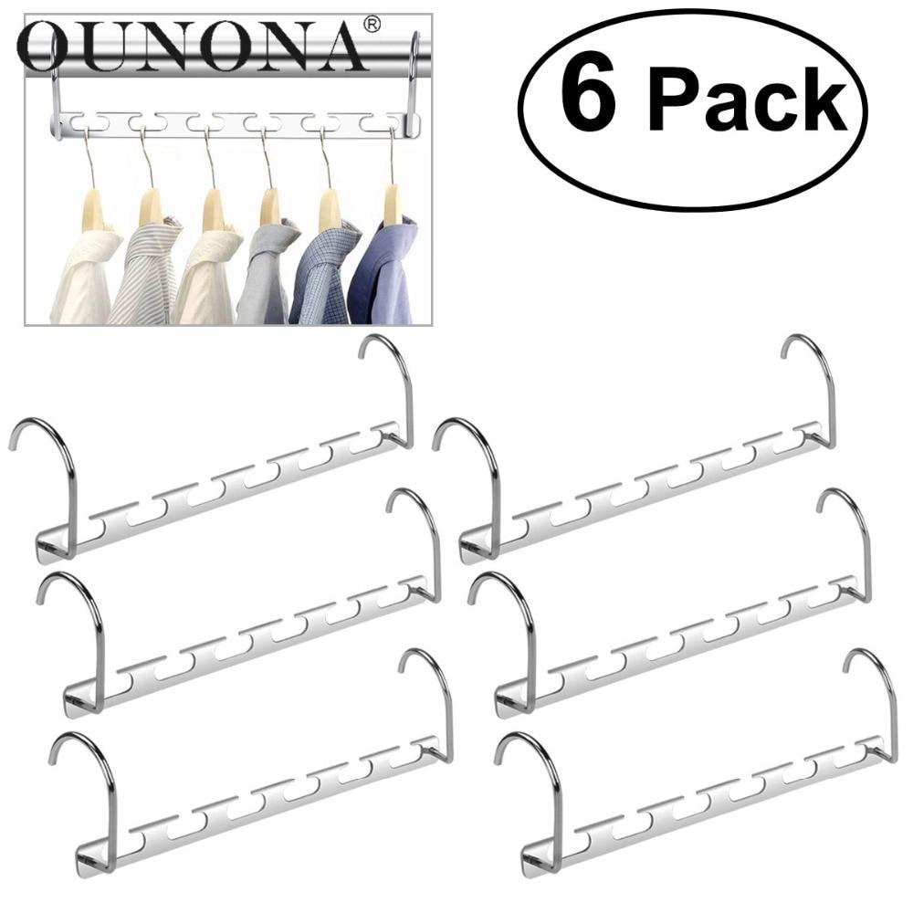 6pcs Wardrobe Closet Bar Clothes Coat Hanger Organizer