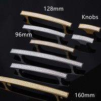 96mm 128mm 160mm Top Quality Glass Diamond Handles Silver Godern Wine Cabinet Dresser Wardrobe Drawer Handles