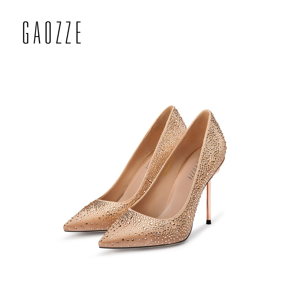 GAOZZE Rhinestones party women shoes sexy high heels pumps Fashion pointed toe women wedding shoes shallow mouth 2017 autumn new 2017 spring autumn shoes shallow mouth pointed toe fashion high heeled velvet thin heels pumps office party shoes