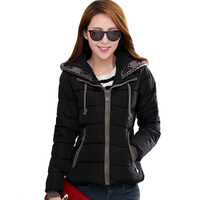 Novo design 2019 casaco de inverno feminino com capuz algodão acolchoado outwear casaco feminino inverno curto parka