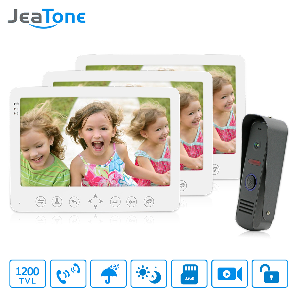 JeaTone Video Door Phone Doorbell Intercom System 7TFT HD indoor Monitor+1 Aluminum Outdoor Camera Home Entry Security Kit jeatone video phone home intercom audio doorbell 3 7mm pinhole cameras with 4 indoor monitor screen wired office intercom