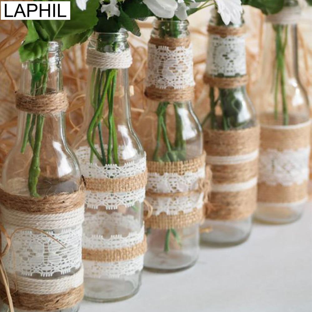 LAPHIL 2M 5cm Natural Jute Burlap Ribbon with Lace Rustic Wedding Decoration Vintage Jute Hessain Ribbon Rolls Party Supplies(China)