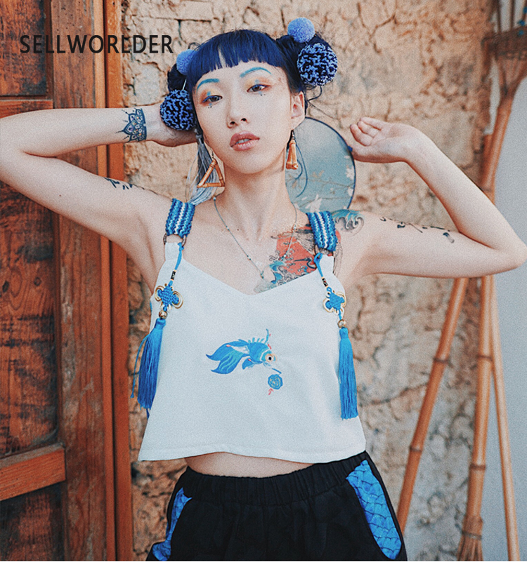 2019 Women Summer Embroidery Godfish Chinese Style Webbing Features Short girl's   Tank     Tops