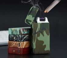 1ชิ้นUSBแบบชาร์จลมArcเบาชีพจรส่วนบุคคลโลหะบุหรี่อิเล็กทรอนิกส์Briquetด้วยกล่องของขวัญ5สี