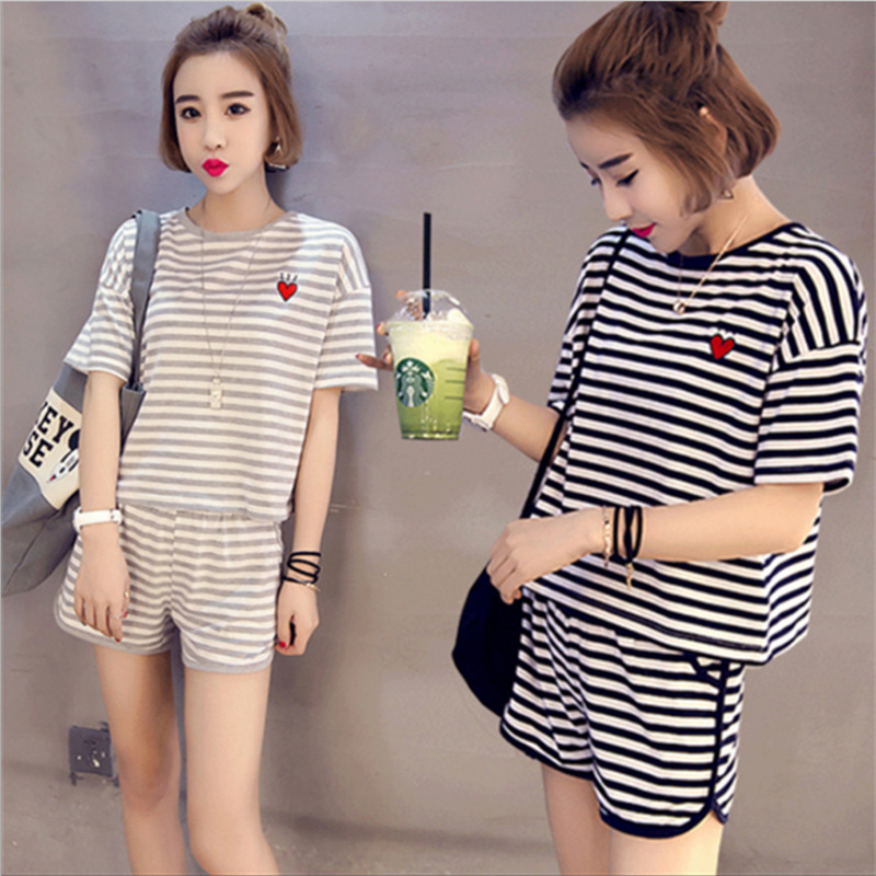 New summer stripe short sleeved ladies   pajamas     set   shorts peach leisure clothes two   set   out Home Furnishing sleepwear