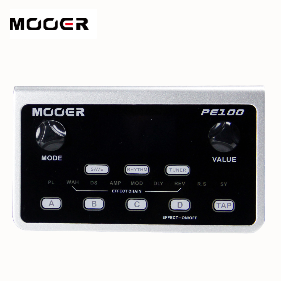 NEW MOOER PE100 Guitar Portable multi effects processor LCD display pedal  Effect pedal 40 drum patterns and 10 metronomes