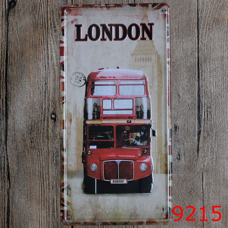 LOSICOE Vintage license plate LONDON Metal signs home decor Office Restaurant Bar Metal Painting art 15x30 CM