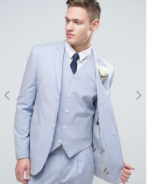 2017 Latest Coat Pant Design Light Blue Beach Wedding Suits For Men Slim Fit 3 Piece Tuxedo Custom Groom Blazer Terno Masculino