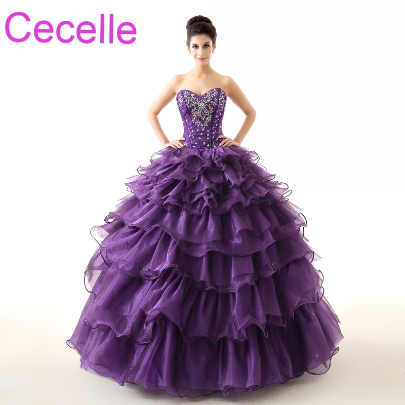 Purple Ball Gown Prom Dresses 2018 Sweetheart Tiered Organza Crystal ...