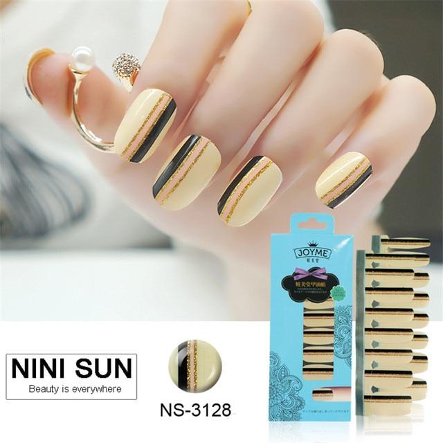 16pcs 100 Nail Polish Strip Art Patch Foil Striping Tape Designs Strips Wraps Gold
