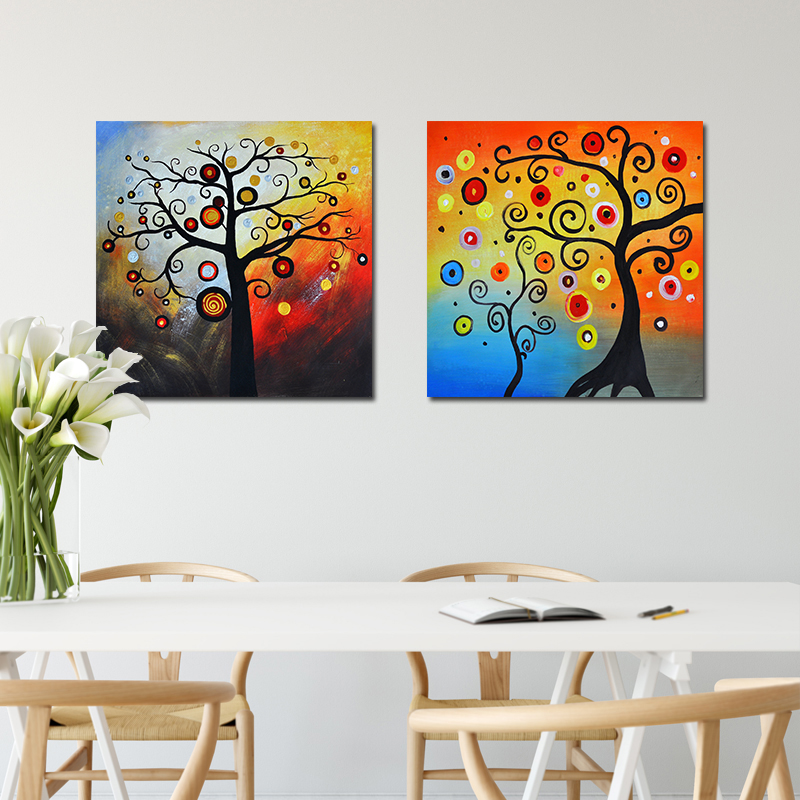 US $4.0 55% OFF|NEWBILITY Modern Canvas Art Print Klimt Style Lucky Tree  Paintings Living Room Decoration Hotel Bedroom Posters Hallway Wall Art-in  ...