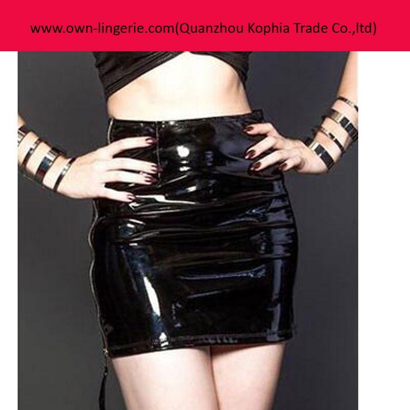 Descripción del producto. Material  cuero de poliuretano. De color negro.  Estilo  Mini falda ... a83bb52f1122